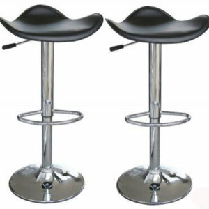 2 Curvy Black Bar Stools Faux Leather