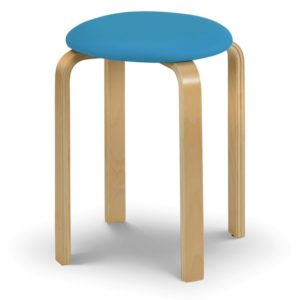 Darol Comfortable Wooden Bedroom Playroom Stacking Blue Pink White Low Stool