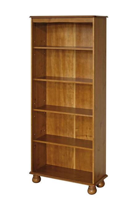 Hamilton Antique Pine Wood 5 Shelf Bookcase