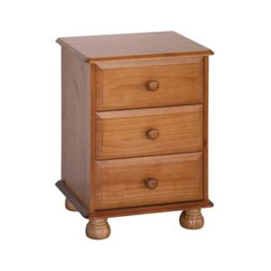 Hamilton Antique Pine Wood 3 Drawer Bedside Cabinet