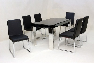 Dani Glass Table And 6 Chrome And Pu Padded Chairs