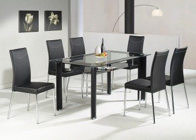 Toss Large Clear Glass Rectangle Dining Table Set With 6 Chairs
