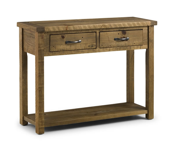 Asoney Hall Console Table With Drawers Rough Sawn Solid Pine Fully Assembled