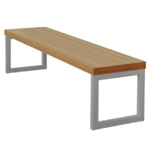 Kaso Kitchen Dining Room Bench Beech Effect With Silver Frame 3Ft