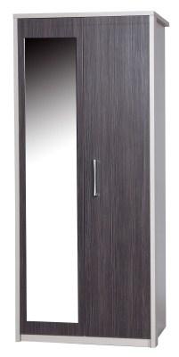 Emma Quality 2 Door Wardrobe With Mirror Fully Assembled Cream Frame Grey Doors