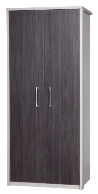 Emma Quality 2 Door Wardrobe Fully Assembled Cream Frame Grey Doors