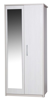 Ashley Quality Bedroom Universal Mirror Wardrobe - Fully Assembled Cream Frame White Doors