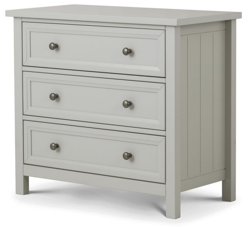 Viyella Dove Grey 3 Drawer Chest Of Drawers Stone Lacquered Finish Fully Assembled Option