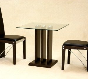 Allope Small Stylish Modern Glass Square Dining Kitchen Table Set With 2 Chairs