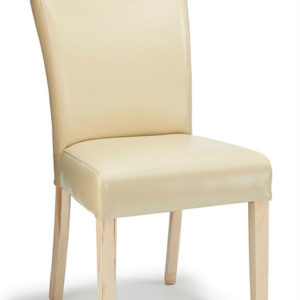 Edward Bonded Leather Dining Kitchen Chair Cream Padded Seat And Oak Legs - Fully Assembled