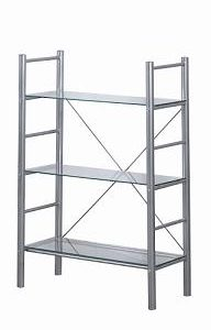 Alloy Occasional 3 Tier Metal Frame Glass Shelves