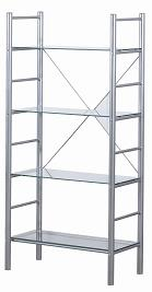 Alloy Occasional 4 Tier Metal Frame Glass Shelves