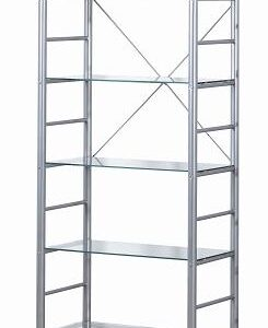 Alloy Occasional 5 Tier Metal Frame Glass Shelves
