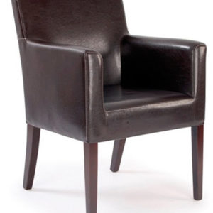 Zaba Brown Padded Cubed Armchair With Arms Padded Seat And Back