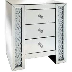 Rumba Sophisticated Mirror Glass Bedside Table With Glass Crystal Decoration - 3 Drawer