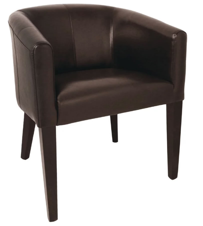 Fali Tub Chair Fully Assembled Brown Commercial Quality