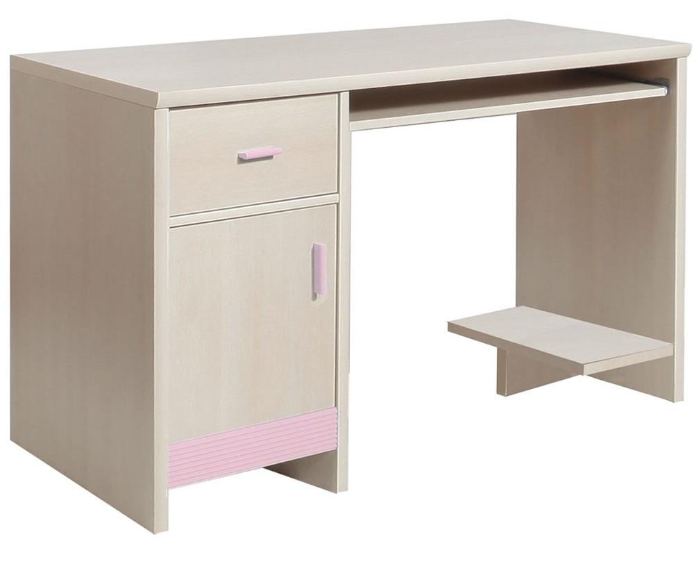 Fazon Kids 1 Door 1 Drawer Desk In Beech With Pink Trim
