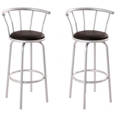 Jaiger Breakfast Bar Stool Shiny Chrome Frame Padded Stool Swivel Seat