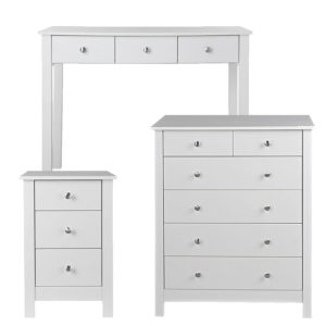 Nightsgale White Bedroom Set Bedside Chest 2+4 Chest Of Drawers And Desk Or Dressing Table Danish Made Quality