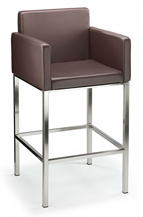 Hagony Brushed Steel Kitchen Breakfast Bar Stool With Arms Various Colours