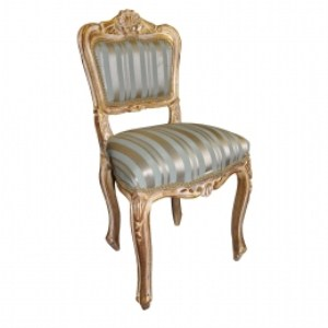 Fenti Padded Chair Gold Frame Duck Egg Striped Antique Chair