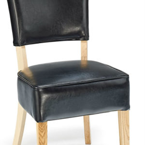 Nevo Tan Aniline Leather Dining Kitchen Chair Fully Assembled Oak Wood Frame Padded Seat And Back