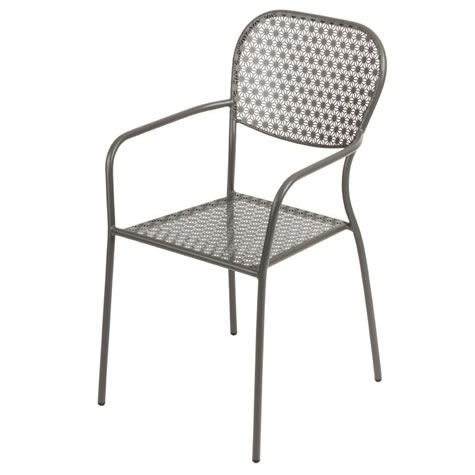 Gazone 4 Armchairs Stackable Outdoor Use Grey Steel Patterned Bistro Chairs Fully Assembled