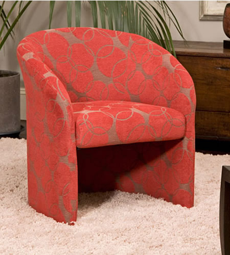 Apon Red Tub Chair Unique Circle Patterned Fabric Covered With A Soft Finish