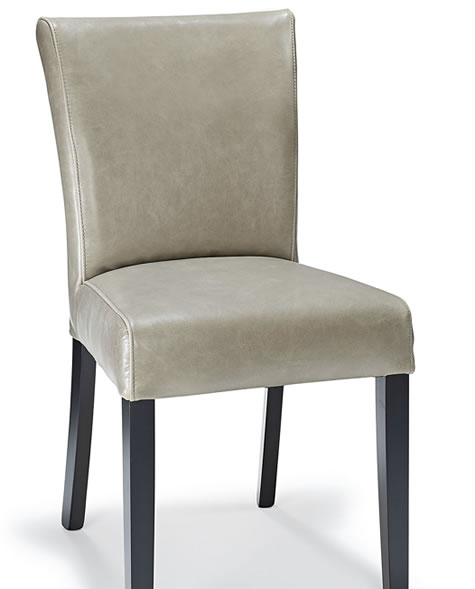 Gazmere Grey Leather Dining Chair Aniline Leather And Black Frame _ Fully Assembled