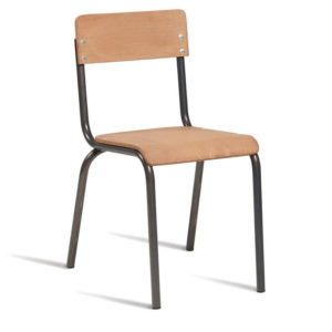 Catoni Retro Kitchen Dining Chair Black Steel Frame Wood Seat Fully Assembled