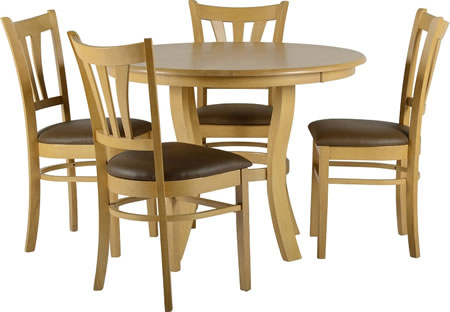 Goda Ash Round Dining Table And 4 Chairs