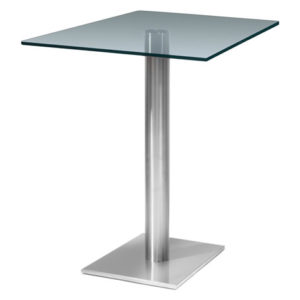 Helsone Square Clear Tall Poseur Glass Dining Kitchen Table - Stainless Steel Finish