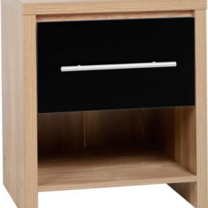 Senery 1 Drawer Bedside Cabinet In Light Oak Veneer And Black High Gloss
