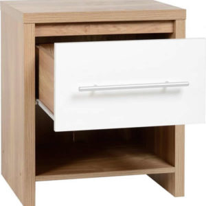 Senery 1 Drawer Bedside Cabinet In Light Oak Veneer And White High Gloss Drawer