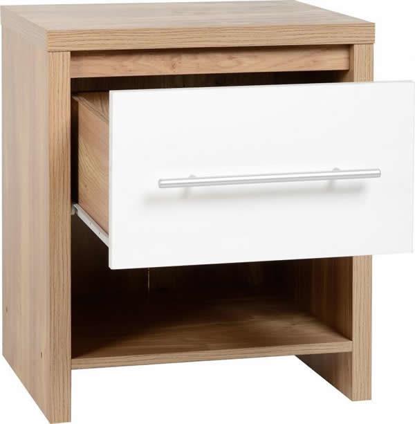 Senery 1 Drawer Bedside Cabinet In Light Oak Veneer And White High Gloss Drawer