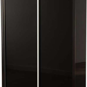 Hallie Black Gloss 2 Sliding Door Wardrobe With Hat Shelf And Hanging Space