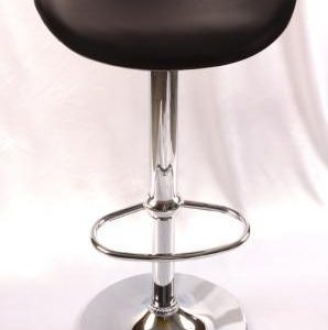 Hermy Kitchen Breakfast Bar Stool In Black Adjustable Height