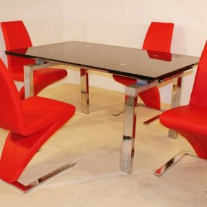 Hage Extending Glass Table And 4 Chrome Padded Chairs