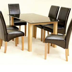 Harris Large Dining Table Black Glass Dining Set