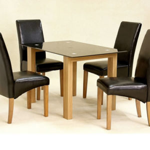 Harris Small Dining Table Black Glass With Oak Legs