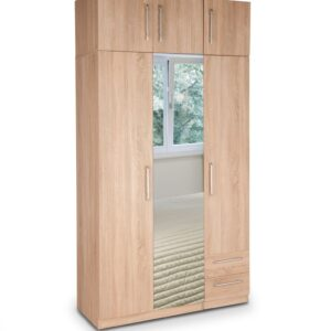Eitan Quality Bedroom 3 Door Mirror Combi Tall Oak Wardrobe