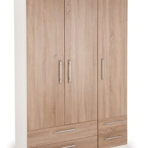 Eitan Quality Bedroom 3 Door Combi Wardrobe - Oak Doors White Or Oak Frame