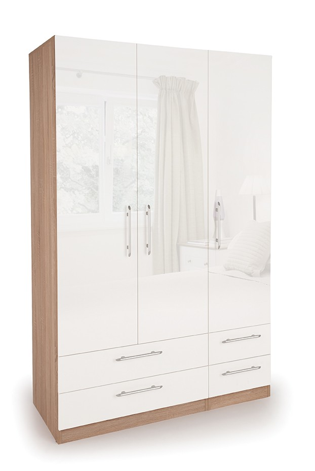 Coral Gloss Quality Bedroom 3 Door Combi Wardrobe - Various Colours