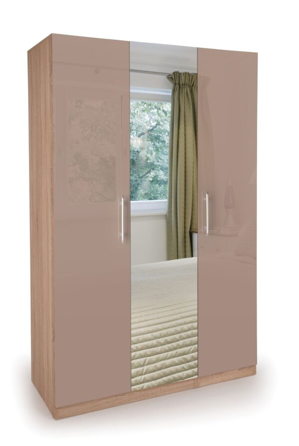 Coral Gloss Quality Bedroom 3 Door Mirror Wardrobe - High Gloss Mocha Doors Oak Frame