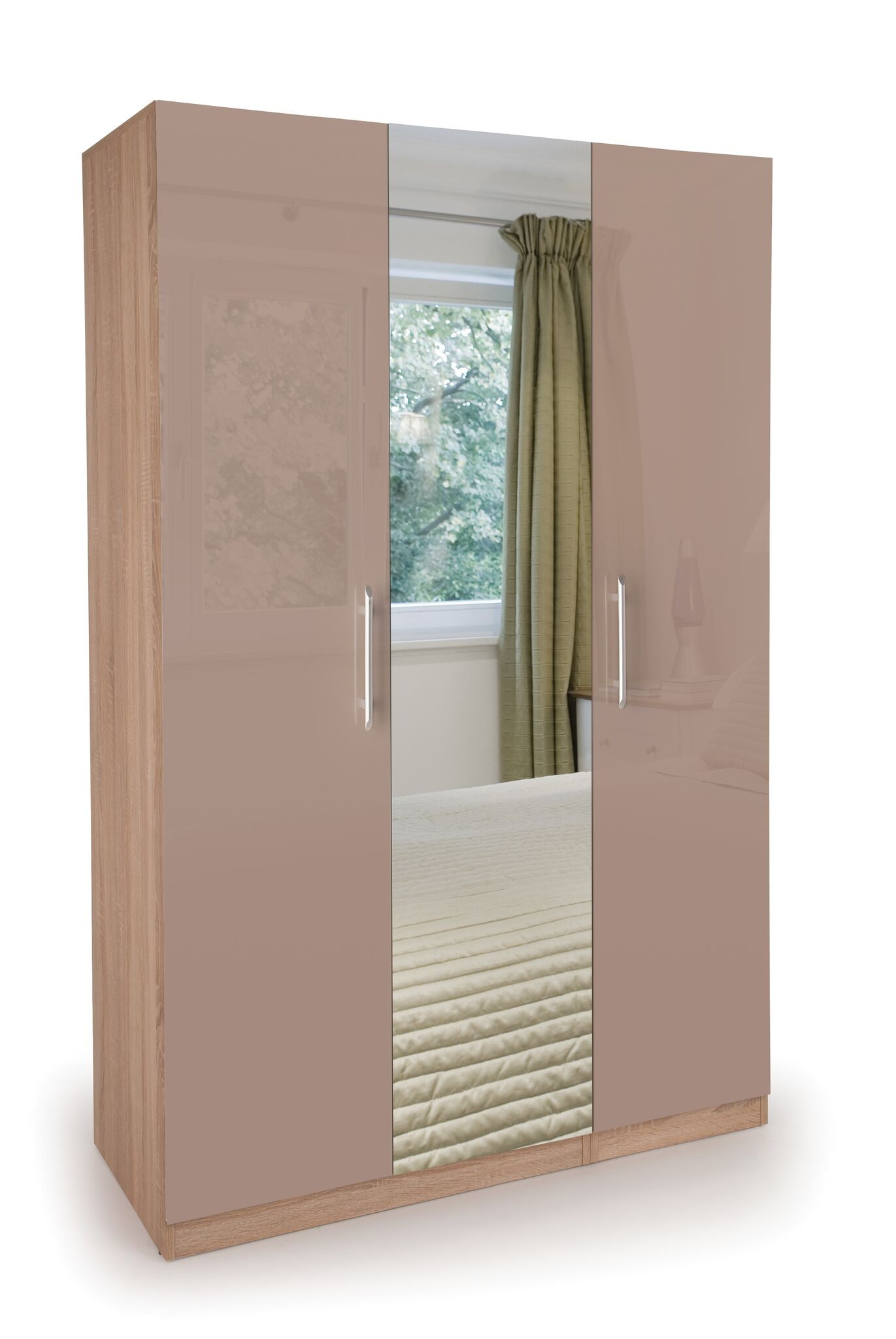 Coral Gloss Quality Bedroom 3 Door Mirror Wardrobe - High Gloss Mocha Doors Oak Frame