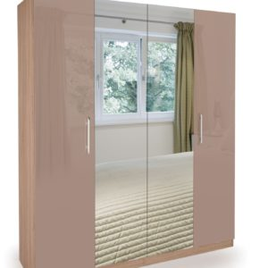 Coral Gloss Quality Bedroom Double Mirror Wardrobe - Oak Frame High Gloss Mocha Doors
