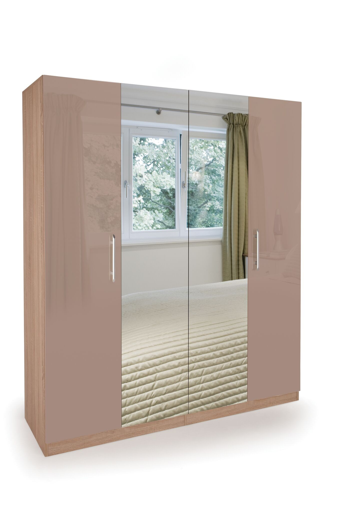 Coral Gloss Quality Bedroom Double Mirror Wardrobe - Oak Frame High Gloss Mocha Doors