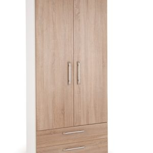 Eitan Quality Bedroom Combi Wardrobe - Oak Doors Drawers White Or Oak Frame