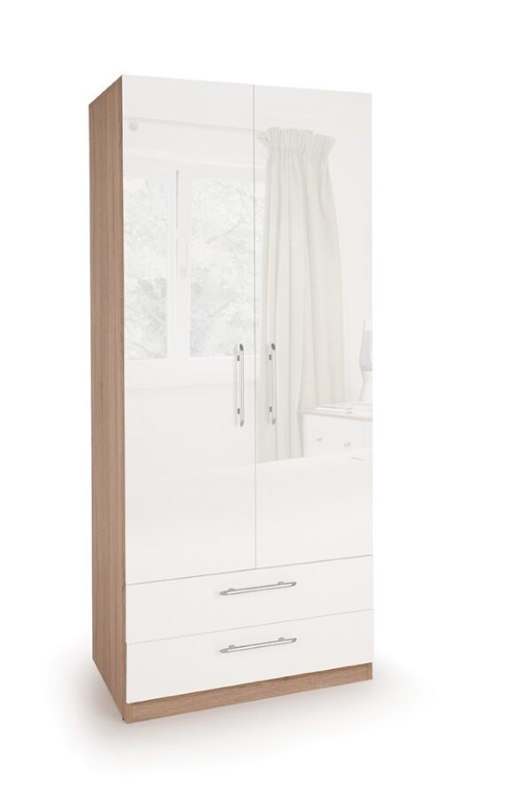 Coral Gloss Quality Bedroom Combi Wardrobe - Various Colours