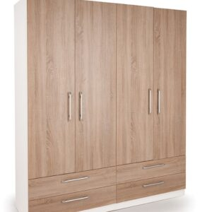 Eitan Quality Bedroom Double Combi Wardrobe - Oak Doors White Or Oak Frame
